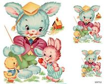 VinTaGe ImaGe Xl ScHooLhouSe BuNnieS ShaBby WaTerSliDe DeCals FuRniTuRe SiZe