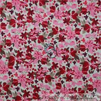 BonEful Fabric FQ Cotton Quilt Gray Maroon Pink Tiny S Little Flower Leaf Calico