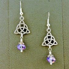Silver Celtic Triquerta Trinity Knot earrings purple irridescent crystal beads