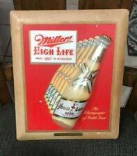 Vintage Miller Beer Advertising Sign With Bottle Dated 1951 Milwaukee Wi