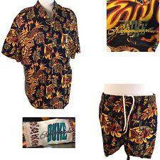 Vtg Cabana Set Duke Kahanamoku Hawaiian Shirt Shorts Swim Trunks Hula Native XL