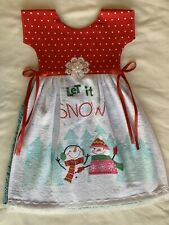 New listing Christmas Snowman Kitchen Oven Door Towel Dress Apron Red Dots Scarf Cotton Pink