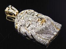 "Genuine Diamond Flooded Jesus Piece Pendant Charm 14K Yellow Gold 1.55 Ct 1.25"""