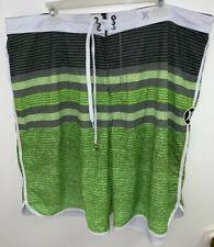 Hurley Phantom Mens 42 Board Swim Surf Shorts Green Striped Boardshorts