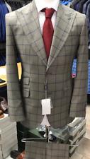 Grey/blue Prince of Wales windowpane 150 Cerruti wool suit double stitched peak