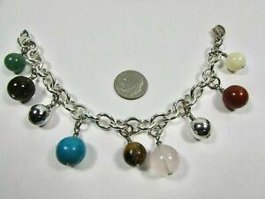 Lee Sands Wacky Friday Multi Gemstone Bead Link Chain Bracelet