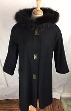 Vintage Carol Horn Black sz 6 M Faux Fur hood Swing Coat Jacket Usa