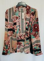 River Island Pink Floral Print Lightweight Blazer Top Size 12-18