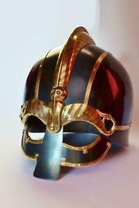 Nasal Viking Helmet 16 Gauge Steel Brass Medieval Vendel Viking Armor Helmet