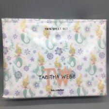 3pc Mermaid TWIN Sheet Set Floral Ocean Lavender Purple Green Tabitha Webb NEW