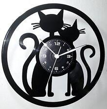 OROLOGIO DA PARETE IDEA REGALO Donna Uomo - VINILE - CATS CAT COPPIA GATTO GATTI