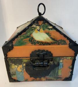 Reverse-Painted Ox Horn Wood Bronze Box- Hwagak Haem Vintage Korean Ox Horn Box
