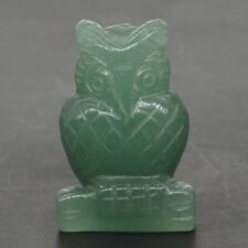 "1.5"" Natural Green Aventurine Crystal Carved Owl Statue Healing Reiki Decor"