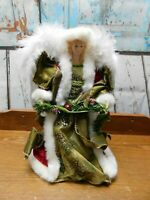 "Vintage Angel Tree Topper Feather Wings 13"" Tall"