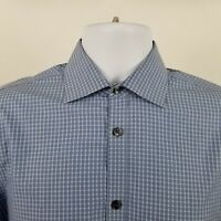 John Varvatos USA Slim Fit Mens Blue Check L/S Dress Button Shirt Sz Medium M