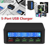 Quick Charge 3.0 Smart USB 5-Port Charger Power Adapter Station LCD Display Nice