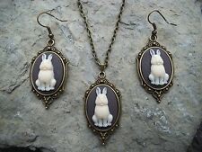 BUNNY RABBIT CAMEO NECKLACE AND EARRINGS SET-- BRONZE, GIFTS, !!