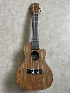 Concert Electro Acoustic ukulele in Ovangkol with arched back + tuner RRP £169