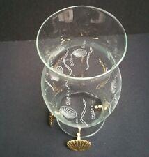Party Lite Sea Shells Clear Glass Hurricane Shade 3 Brass Plated Sea Shell Feet