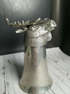 "Vintage 5""x3"" Pewter Moose Head Stirrup Cup Shot Glass Detailed Hunting Barware"