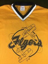 True Vintage 70s 80s Flyers Airplanes Biplanes Sports Yellow Team Jersey T-Shirt