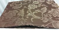 """DAMASK LINEN Tablecloth 60"""" x 84"""" OBLONG (6-8 ppl) FLOWERS ON BROWN color by BH"""
