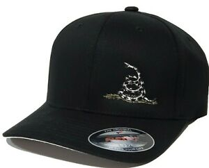 Subdued Colors Gadsden Flag Snake Embroidered FLEXFIT Black Cap Hat, 2A 5001