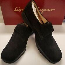Salvatore Ferragamo Womens Shoes Size 6.5 Suede Calf Monk strap Black NWT!