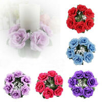 EE_ Artificial Flower Floral Candle Ring Holder Wedding Tabletop Centerpiece Adr