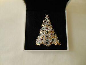 Vtg 1997 Swarovski Christmas Tree Brooch Pin Pave Rhinestone Crystal w/Orig Box