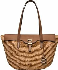 $298 Michael Kors STRAW NAOMI Walnut Large Tote Bag Handbag Satchel Purse NEW