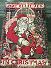 "VINTAGE * SANTA CLAUS KIDS CHRISTMAS TREE FRINGED TAPESTRY THROW BLANKET 65""x43"""