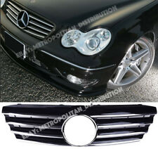 Mercedes C, w203, 01-07, Central Star AMG c55 CL Grill, Deporte, Brillo Negro + Chrome Aleta