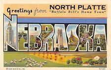Large Letter postcard Greetings North Platte Nebraska Buffalo Bill's Home Town