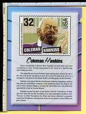 Coleman Hawkins USPS JAZZ LEGEND Jumbo 5x7 Postcard; post card; 2000; EX/NM
