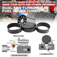 Supercharger Power Air Intake Turbonator Dual Fan Turbine Gas Fuel Saver Black