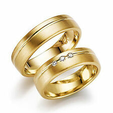 Newshe His Hers Wedding Engagement Ring Band Set 14K Yellow Gold Stainless Steel