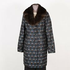 Womens Silk Trench Coat Size M Medium Removable Faux Fur Collar