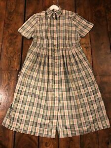 Vintage Cottagecore Prairie Pioneer Cabin Farmcore Cotton Check Dress 18 20