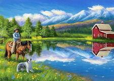Cowboy horse dog ranch farm barn lake mountains landscape OE ACEO print art