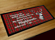 My Heart is in the Highlands Burns night quote Scottish Tartan bar runner mat