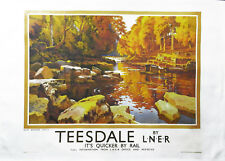 Teesdale - Retro Style Travel Poster Large Cotton Tea Towel by Half a Donkey