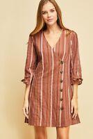 ENTRO striped button mini boho dress 3/4 sleeve 100% cotton S M L