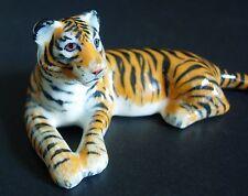Tigre de cerámica naranja rayada Wild Cat Color Ornamento Curio Pantalla Animal Regalo