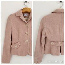 ANN TAYLOR LOFT Women Wool Blend Blazer Jacket 4 Pink Tweed 3-Button