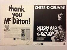 LOT PUBLICITES ANNEES 80 SPECIAL DITTON - CELESTION
