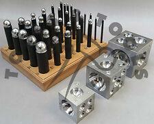 "36 x DAPPING STEEL PUNCH SET + 2"", 2.5"", 3"" STEEL DOMING BLOCKS JEWELLRY MAKING"