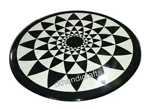 18 Inches Marble Coffee Table Top Round Corner Table with Geometrical Pattern