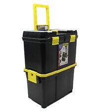 """18"""" Mobile Double Toolbox Storage Pull Along Trolley wheeled tool box"""