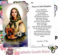 Saint Dymphna with Prayer to St. Dymphna  - Paperstock Holy Card